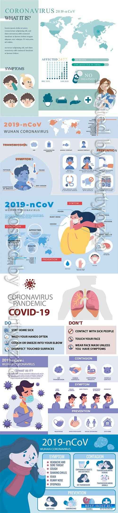 COVID 19, Coranavirus vector illustration sets # 8