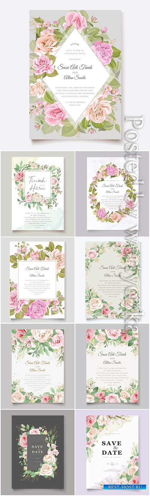 Wedding invitation cards with flowers in vector # 3