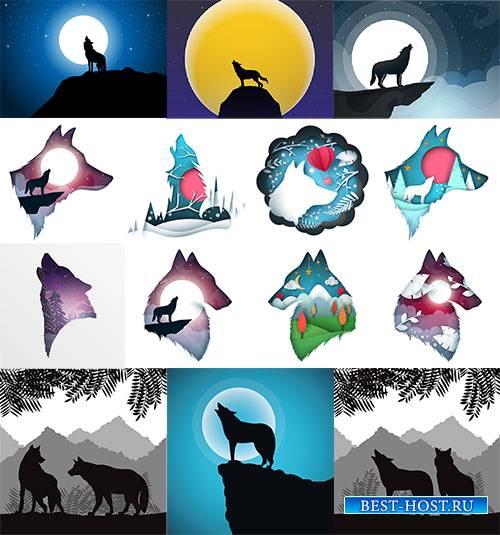 Волки - Векторный клипарт