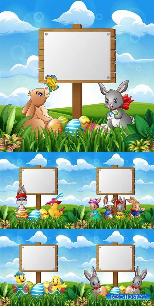 Фоны к Пасхе в векторе 7 / Easter backgrounds in vector 7