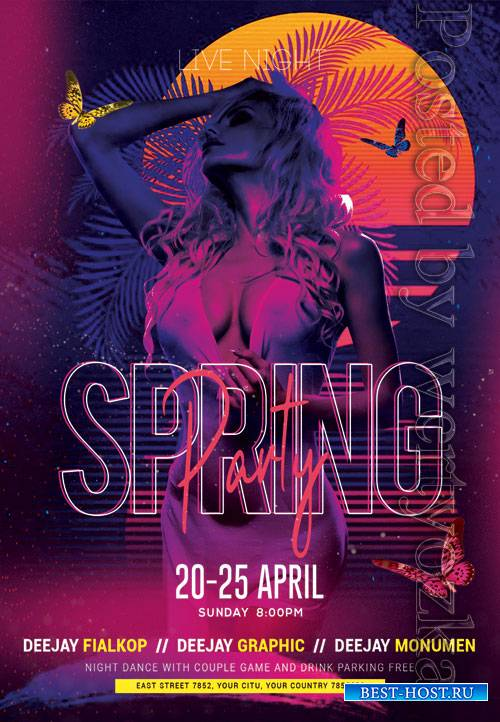 Spring party event - Premium flyer psd template