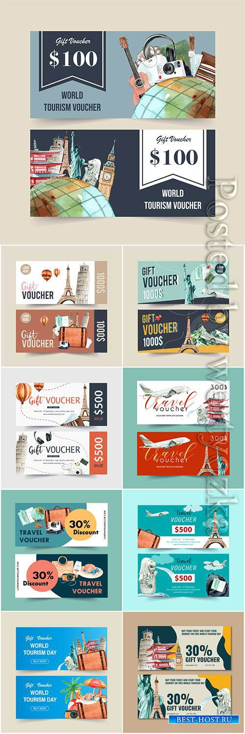 Tourism voucher vector design