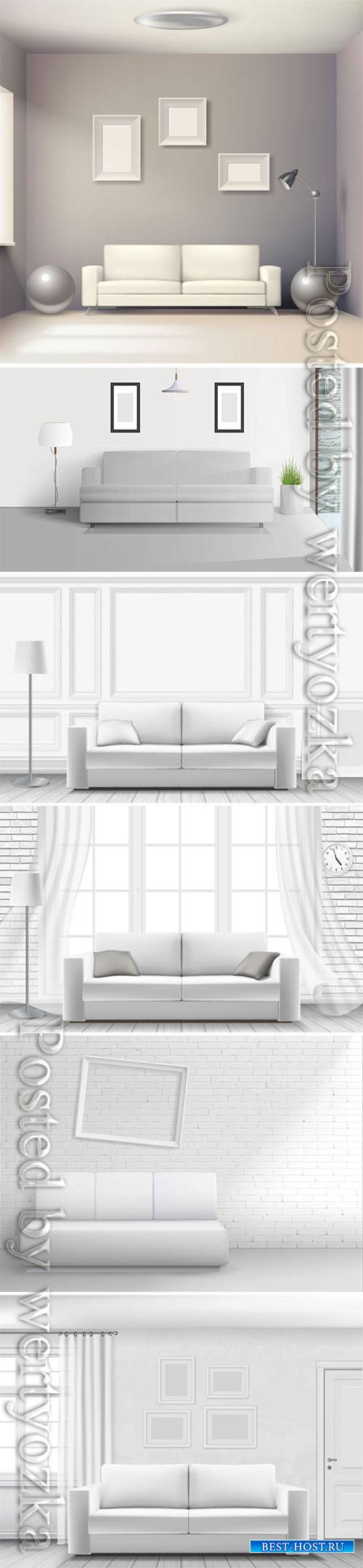 Realistic home interior vector template # 4