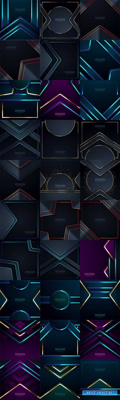 Тёмные фоны с абстрактными линиями - Векторный клипарт