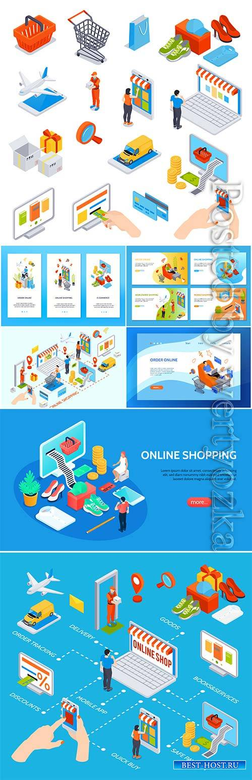 Online shopping isometric set