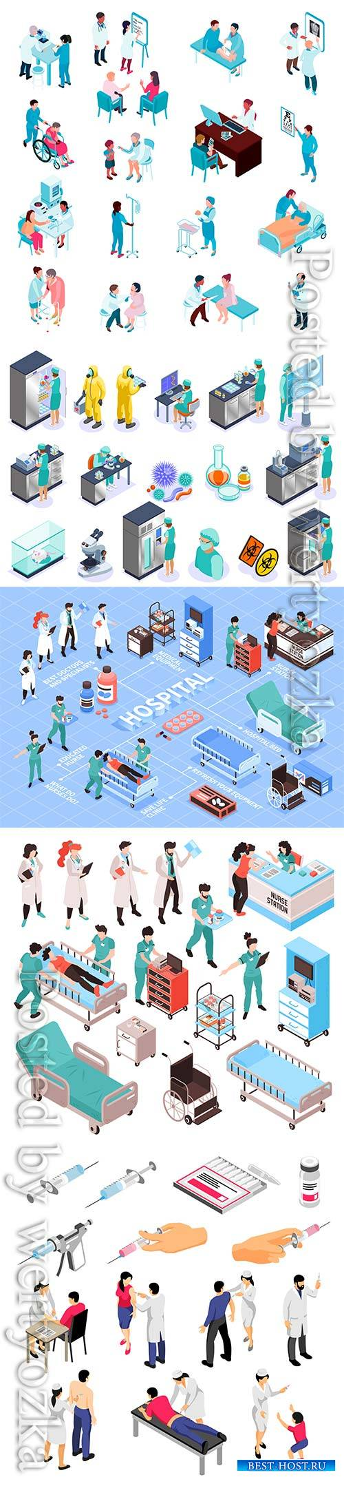 Human characters during vaccination and syringes with medical products set of isometric
