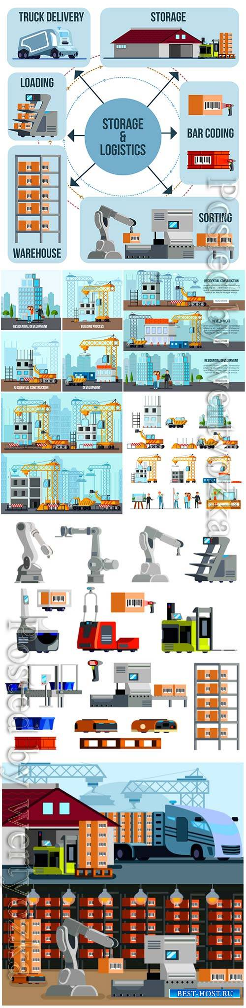 Automated warehouse equipment isometric vector