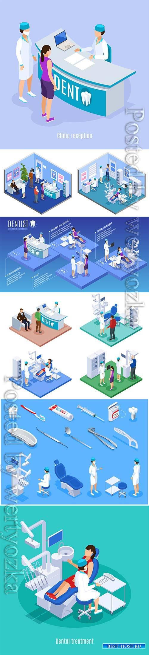 Dentist isometric icons set of stomatology equipment hygiene items implant