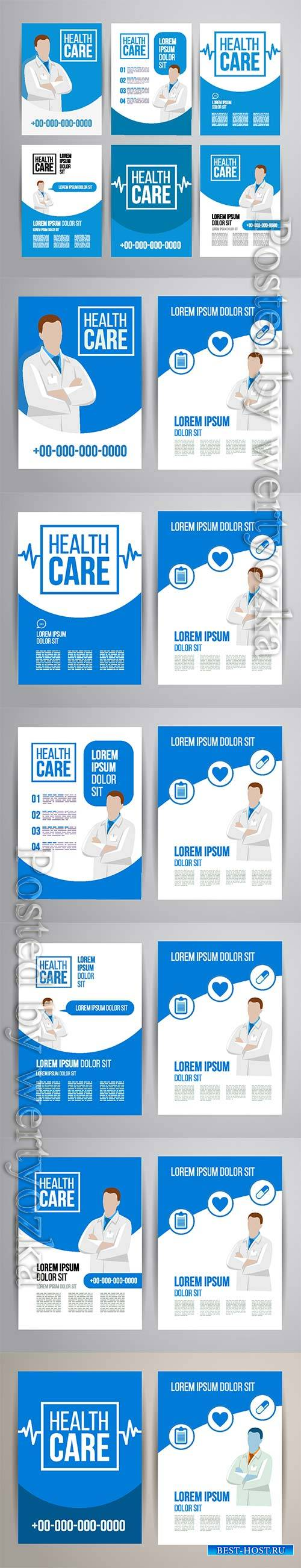 Healthcare brochure concept, clinic flyer design with doctor and medical ic ...
