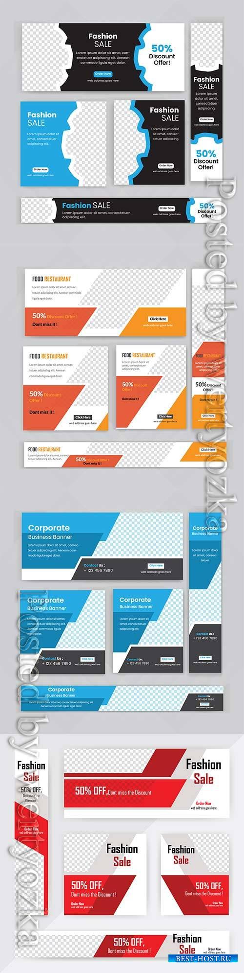 Web banner vector set design, business concept