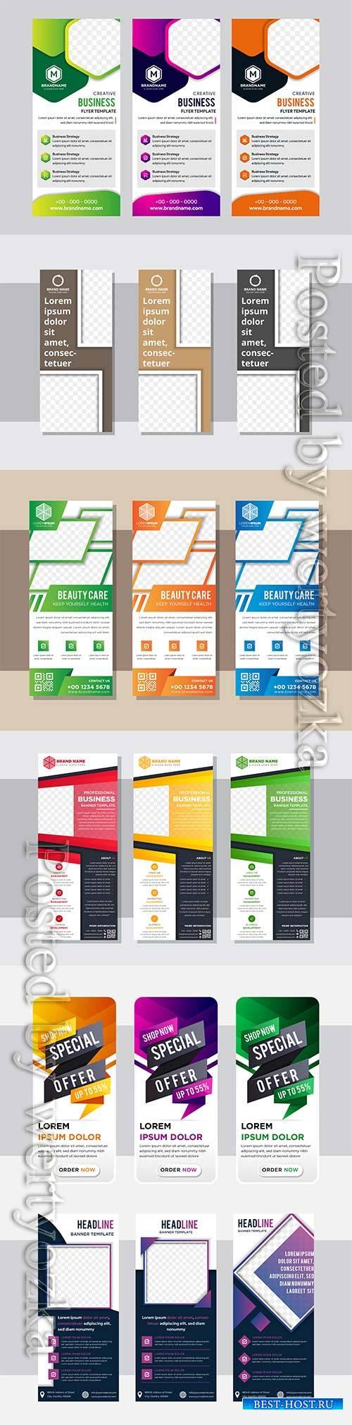 Roll up business vertical brochure vector flyer
