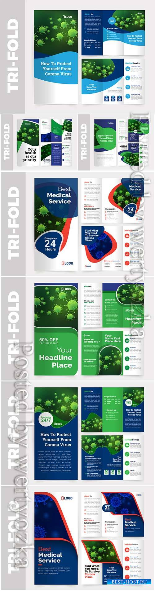 Medical tri-fold brochure vector design template