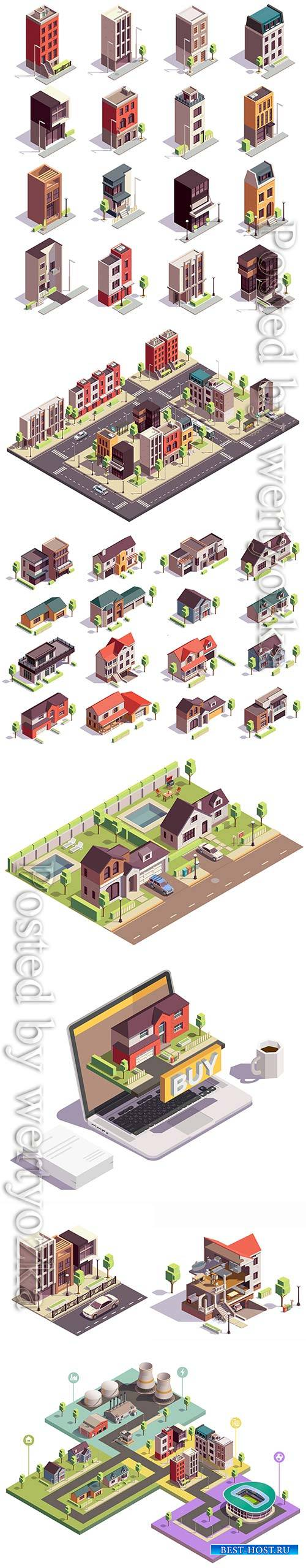 Townhouse buildings isometric vector set of sixteen isolated colourful buil ...