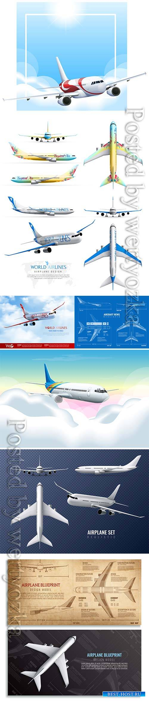 Airplane realistic identity vector set of world airlines in various views isolated