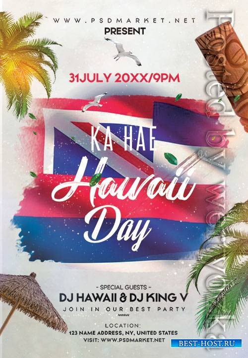 Ka hae hawaii day - Premium flyer psd template