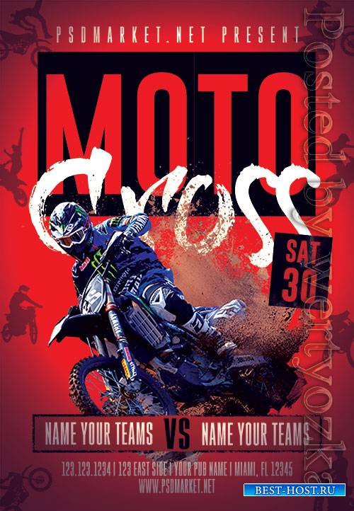Moto cross - Premium flyer psd template