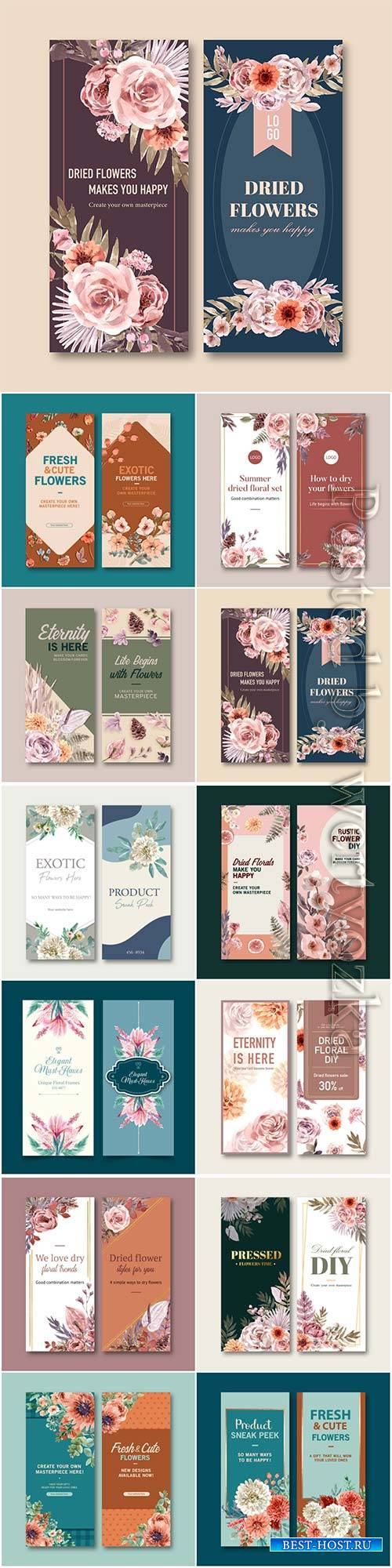 Dried floral flyer template watercolor illustration