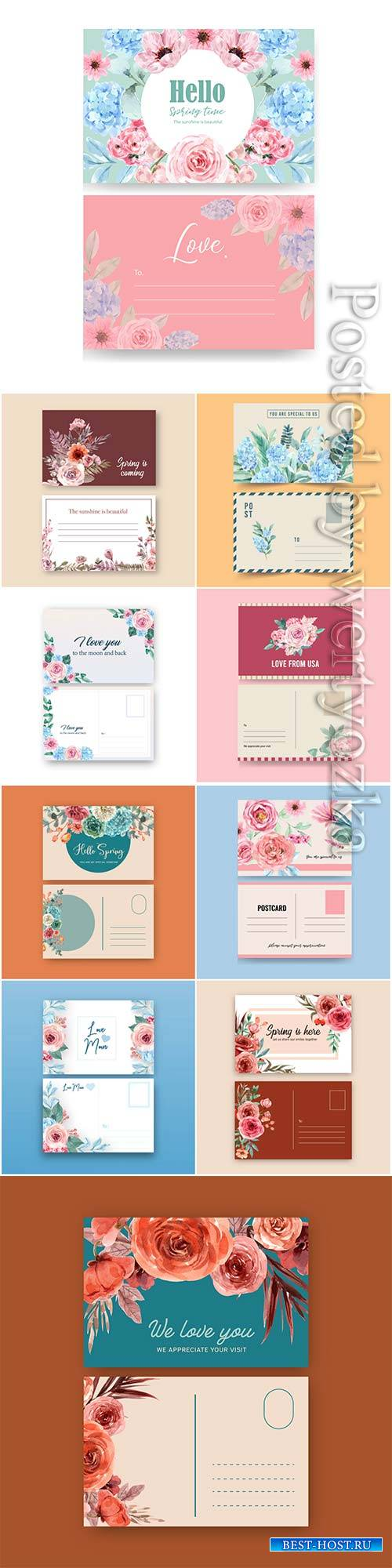Floral charming postcard with flowers watercolor illustration