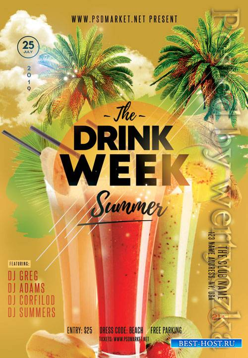 Drink week - Premium flyer psd template