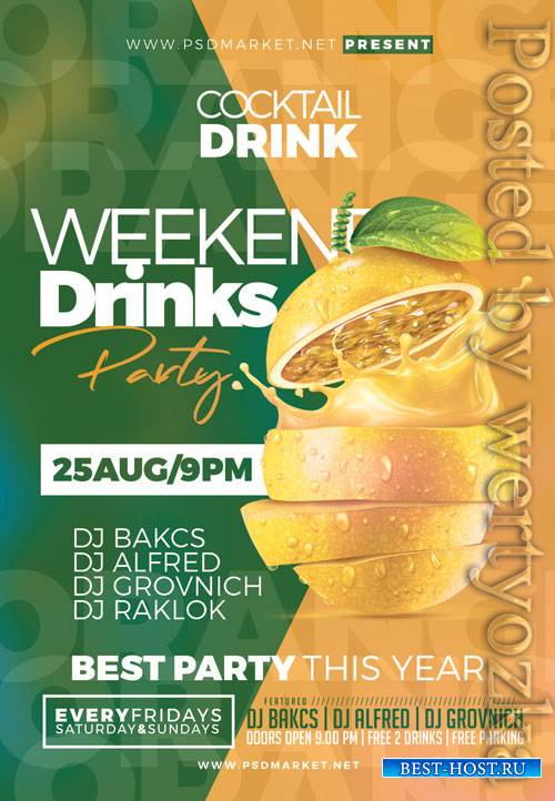Weekend drinks - Premium flyer psd template