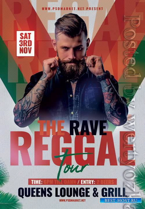 Reggae tour - Premium flyer psd template