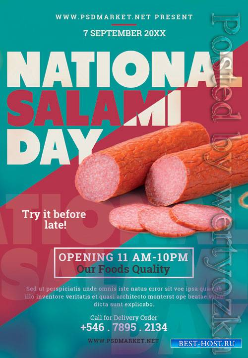 National salami day - Premium flyer psd template