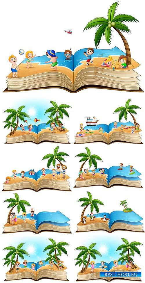 Открытая книга летнего отдыха - Векторный клипарт