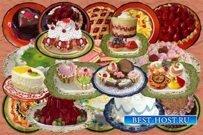 Клипарт Сладости и десерты на фарфоре