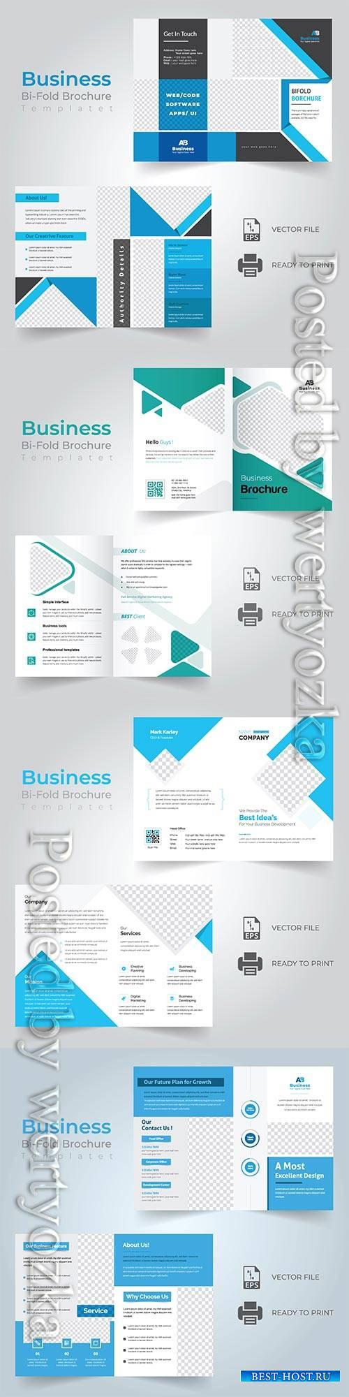 Bi-fold vector brochure template design, corporate business concept