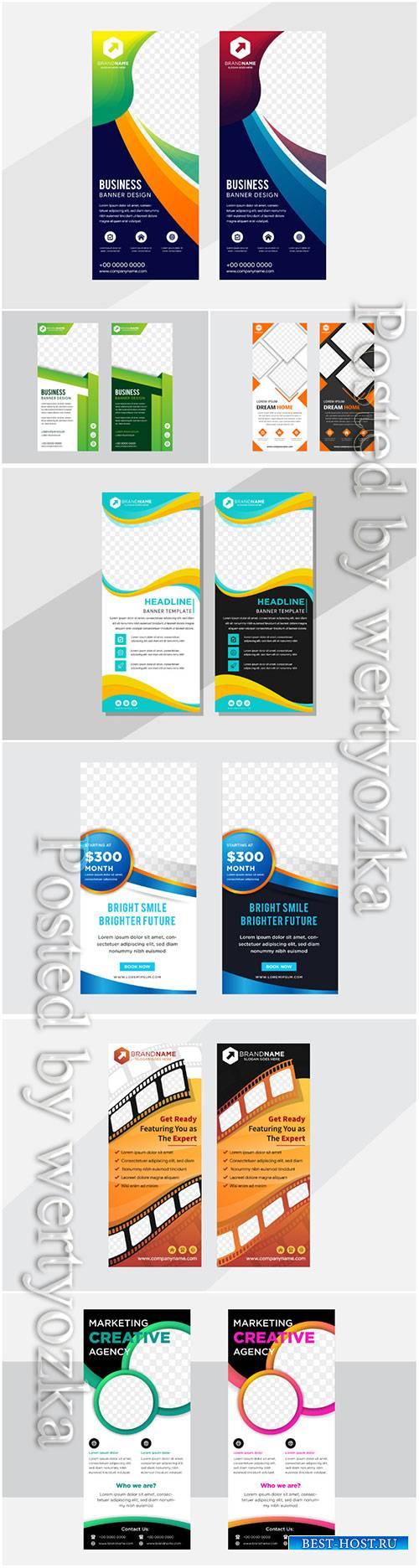 Roll up business flyer design, brochure vertical template vector