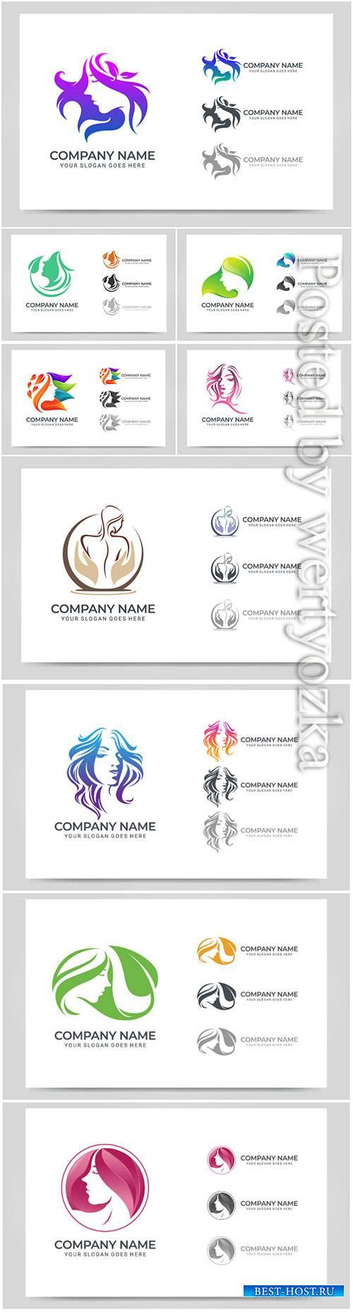 Beauty woman face logo vector symbol