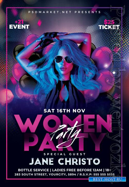 Womens party night - Premium flyer psd template