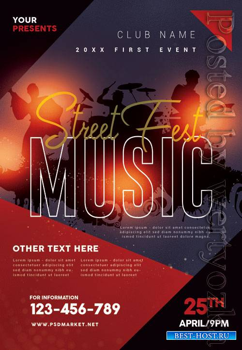 Street music fest - Premium flyer psd template