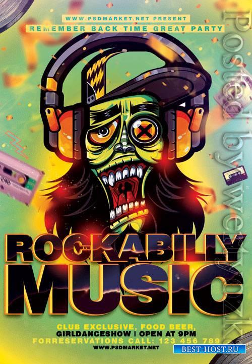Rockabilly music - Premium flyer psd template