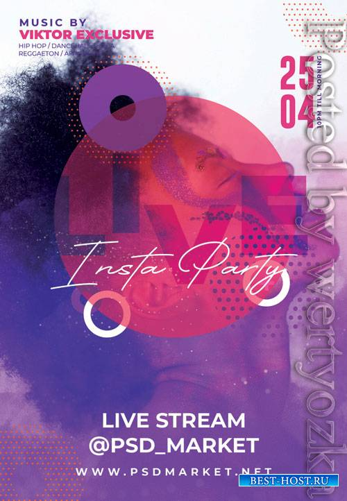 Instagram live party - Premium flyer psd template