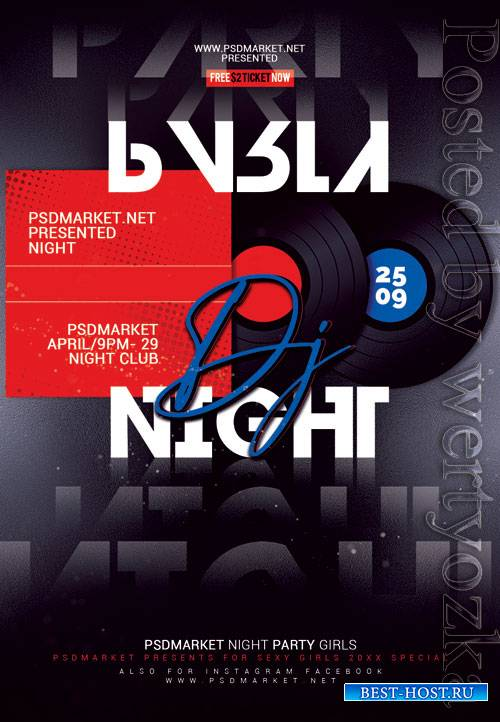 Dj party night event - Premium flyer psd template