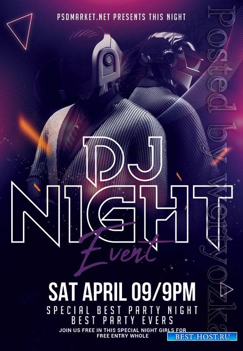 Dj night event - Premium flyer psd template