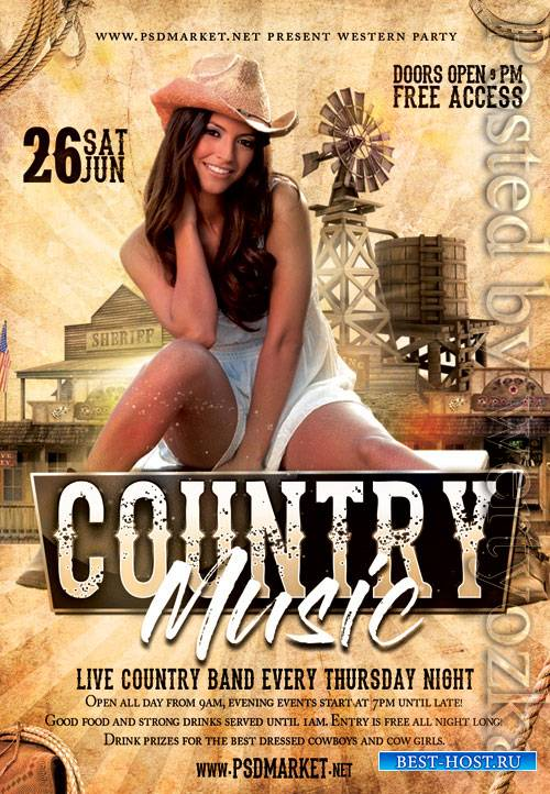 Country music party - Premium flyer psd template