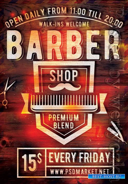 Barbershop event - Premium flyer psd template