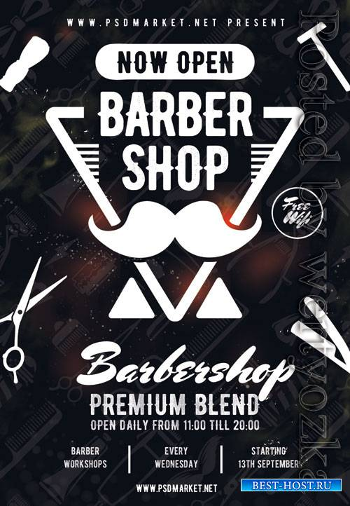Barber shop event - Premium flyer psd template
