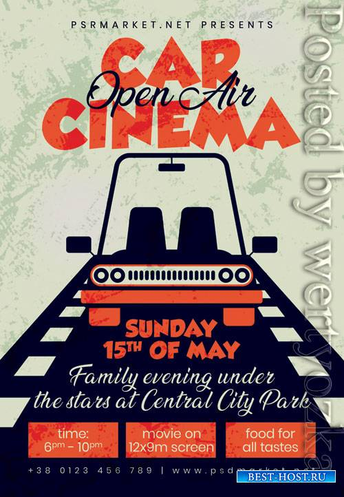 Open air car cinema - Premium flyer psd template