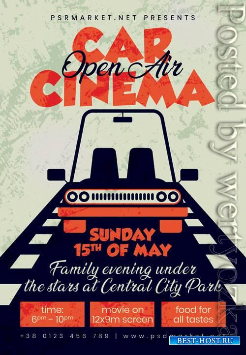Open air car cinema - Premium flyer psd template