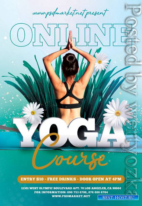 Online yoga course - Premium flyer psd template