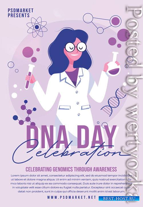 Dna day celebration - Premium flyer psd template