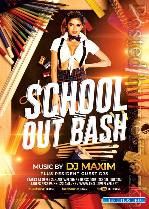 School out bash - Premium flyer psd template