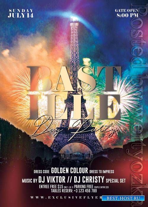 Bastille day party - Premium flyer psd template