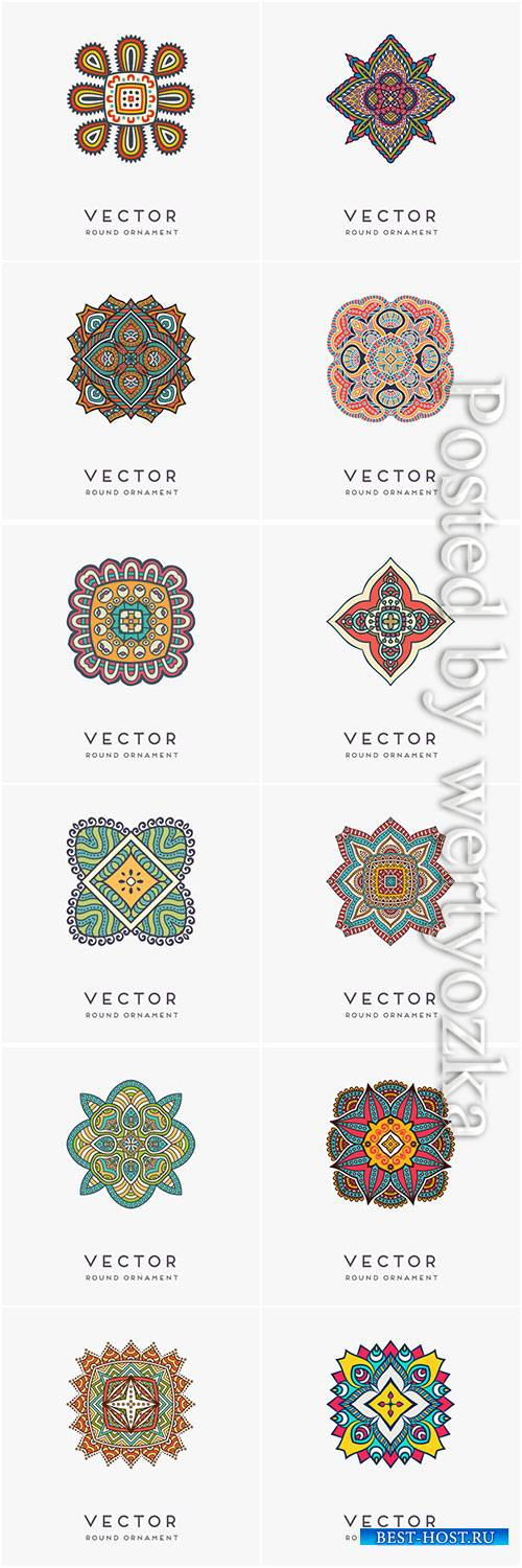 Decorative hand drawn mandala vector illustration # 10
