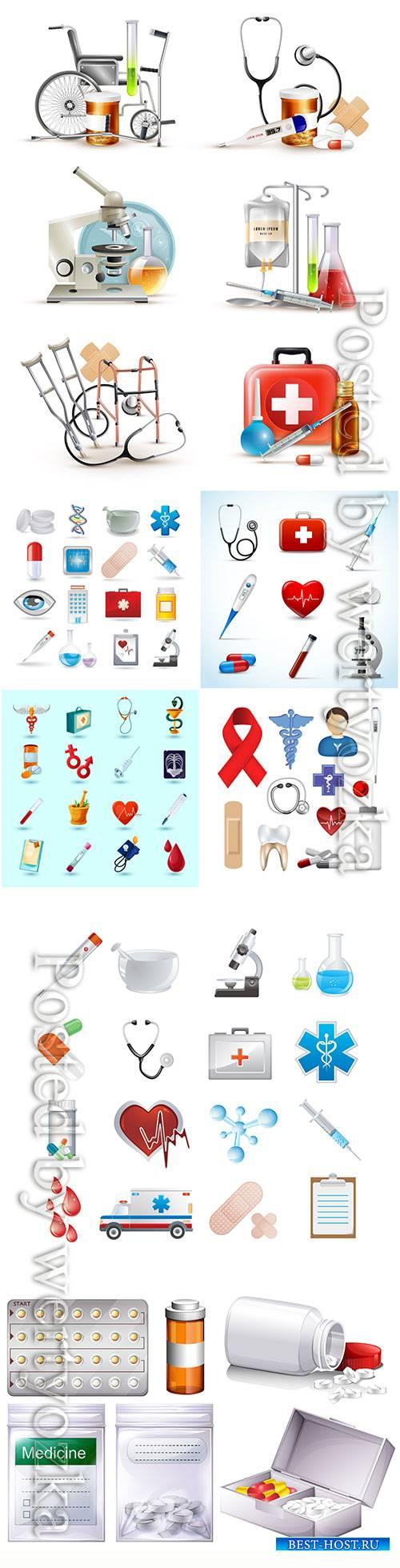 Medical supply elements vector set