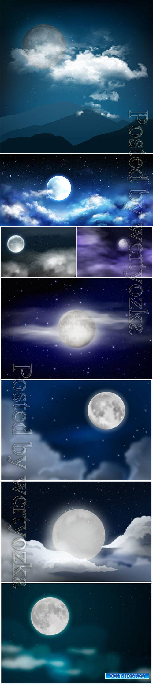 Moon, night sky, stars and clouds vector illustration