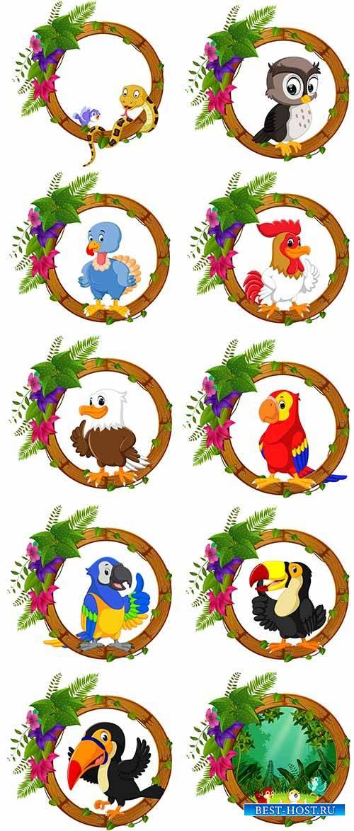 Птицы в круглых рамках с листвой - Векторный клипарт